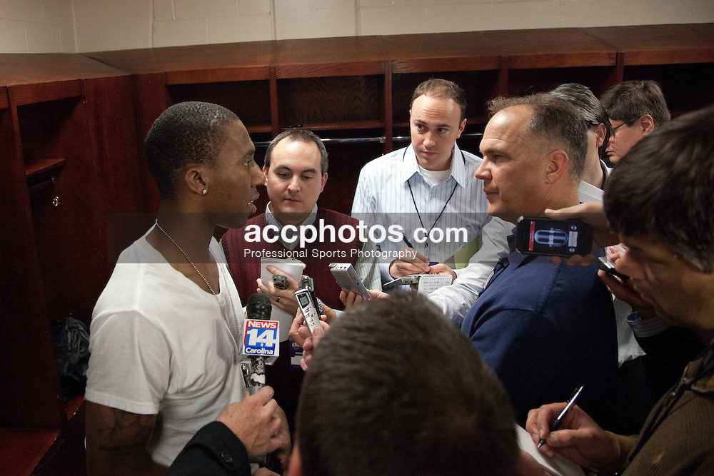 GREENSBORO, NC - DECEMBER 29: Nolan Smith #2 of the Duke Blue Devils speaks to the media post game after playing the UNC-Greensboro Spartans on December 29, 2010 at the Greensboro Coliseum in Greensboro, North Carolina. Duke won 108-62. (Photo by Peyton Williams/Getty Images) *** Local Caption *** Nolan Smith