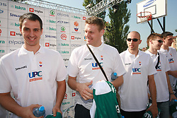 Domen Lorbek, Miha Zupan, Nebojsa Joksimovic, Jaka Klobucar and Emir Preldzic at press conference and after time with fans of Slovenian basketball National Team before departure to Athens for Olympic qualifications, on July 12, 2008, at Presernov trg, in Ljubljana, Slovenia. (Photo by Vid Ponikvar / Sportal Images)