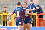 Leeds Rhinos winger Ryan Hall (5) scores a try  and celebrates during the Betfred Super League match between Hull Kingston Rovers and Leeds Rhinos at the Lightstream Stadium, Hull, United Kingdom on 29 April 2018. Picture by Simon Davies.