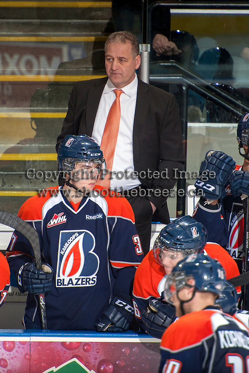 KELOWNA, CANADA -FEBRUARY 1: Mark Ferner, assistant coach of the Kamloops Blazers stands on the bench opposite the Kelowna Rockets  on February 1, 2014 at Prospera Place in Kelowna, British Columbia, Canada.   (Photo by Marissa Baecker/Getty Images)  *** Local Caption *** Mark Ferner;