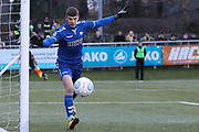 Braintree Town goalkeeper George Legg (36) watches the ball go wide during the Vanarama National League match between FC Halifax Town and Dover Athletic at the Shay, Halifax, United Kingdom on 17 November 2018.