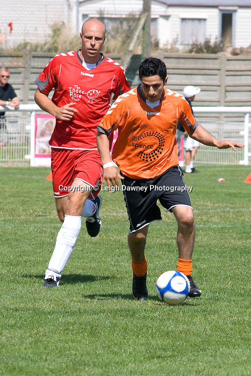 Dean Macey in pursuit of the ball at The Indee Rose Trust, Charity football tournament featuring boxing and tv personalities. The Concord Rangers FC, Canvey Island, Essex, 14th August 2011. Photo credit: Leigh Dawney 2011
