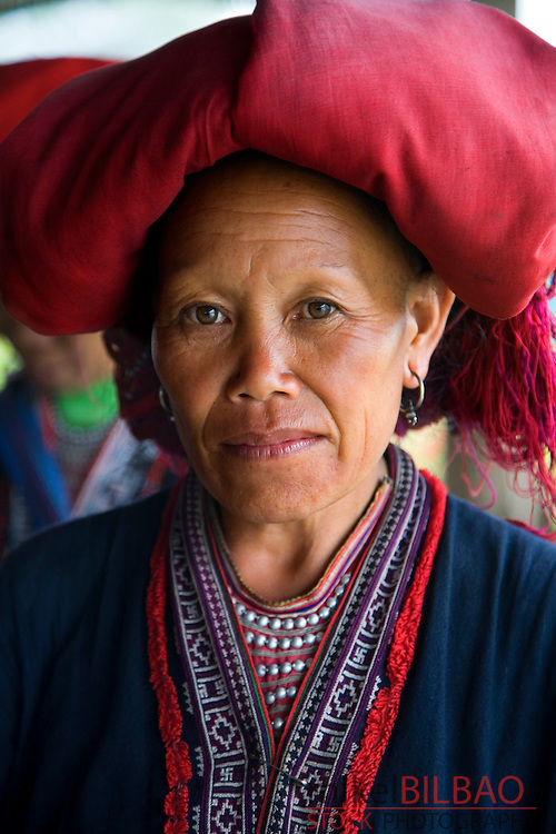 Red Dzao ethnic woman in Ta Phin village.<br />