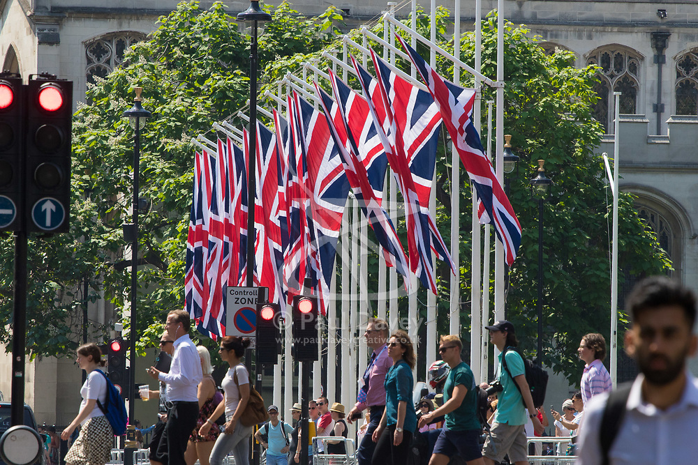 British Union Jack flags hang in Parliament Square, London, ahead of the Queen's speech