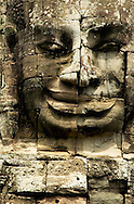 Sculpted stone face at Bayon, one of Angkor's temples