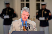 US President Bill Clinton makes a statement on the government's lawsuit against tobacco companies September 22, 1999 in Washington, DC. President Clinton endorsed the move saying it was time for US taxpayer's to have their day in court. The government is trying to recoup billions of dollars spent on treating smoking-related health problems