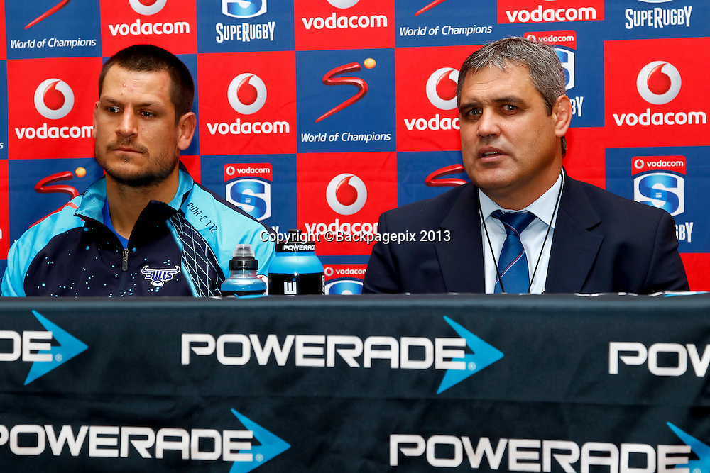 Pierre Spies of the Vodacom Bulls Captain and Frans Ludeke, Coach of the Vodacom Bulls during the match between Southern Kings and the Mr Blue Bulls on the 20 April 2013 at the Nelson Mandela Bay Stadium © Michael Sheehan
