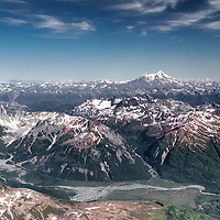 Redoubt Volcano and mountains of the Aleutian Range from high above the Johnson River, Lake Clark National Park, Alaska