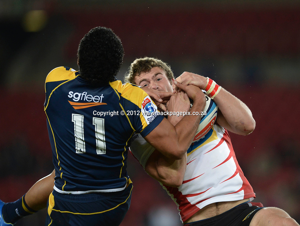 Jaco Taute of the Lions and Joseph Tomane of the Brumbies © Barry Aldworth/Backpagepix
