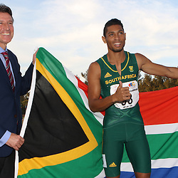 Durban, SOUTH AFRICA, 26,June, 2016 - Lord Sebastian Newbold Coe, Baron Coe, CH KBE with Wayde van Niekerk of South Africa in the Men 200m Final during Day 5 The 20th CAA African Senior Athletics Championships will take place at the Kings Park Athletics Stadium in Durban, South Africa from June 22-26, 2016. (Photo by Steve Haag)