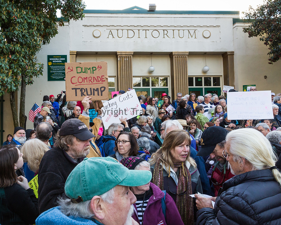 Tracy Barbutes / Union Democrat<br /> U.S. Rep. Tom McClintock participates in a town hall meeting Wednesday, February 22, 2017, at Sonora High School auditorium. The auditorium was filled to capacity (569), with additional citizens waiting in the rain to enter the building. McClintock agreed to hold two one-hour question and answer sessions, so that everyone would have a turn to participate. According to a school administrator, people began arriving at the auditorium about 2:00pm.