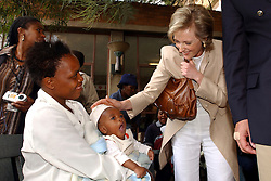 JOHANESBURG, SOUTH AFRICA - APRIL-28-2004 -&#xA;Princess Astrid of Belgium talks to mothers who are HIV positive and have transmitted the disease to their babies during birth at the Chris Hani Aragwanath Hospital in the Soweto Township of Johanesburg . (PHOTO © JOCK FISTICK)&#xA;&#xA;&#xA;<br />
