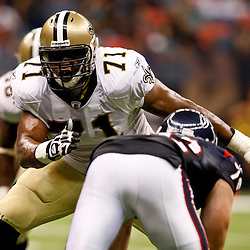 August 21, 2010; New Orleans, LA, USA; New Orleans Saints rookie offensive tackle Charles Brown (71) blocks Houston Texans defensive end Jesse Nading (72)during the second half of a 38-20 win by the New Orleans Saints over the Houston Texans during a preseason game at the Louisiana Superdome. Mandatory Credit: Derick E. Hingle