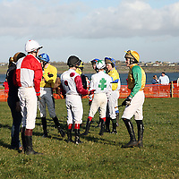 Jockey's waiting to mount at the annual Bellhabour point to point on Sunday.<br /> Photograph by Yvonne Vaughan
