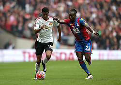 Marcus Rashford of Manchester United takes on Pape N'Diaye Souare of Crystal Palace - Mandatory by-line: Robbie Stephenson/JMP - 21/05/2016 - FOOTBALL - Wembley Stadium - London, England - Crystal Palace v Manchester United - The Emirates FA Cup Final