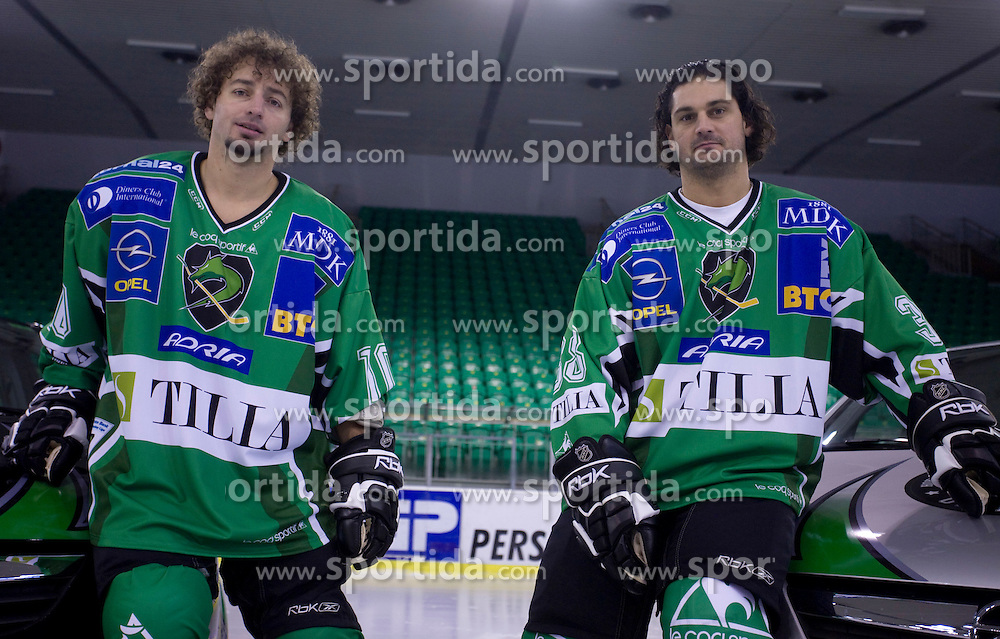 Brendan Yarema and Frank Banham of HDD Tilia Olimpija before new season 2008/2009,  on September 17, 2008 in Arena Tivoli, Ljubljana, Slovenia. (Photo by Vid Ponikvar / Sportal Images)