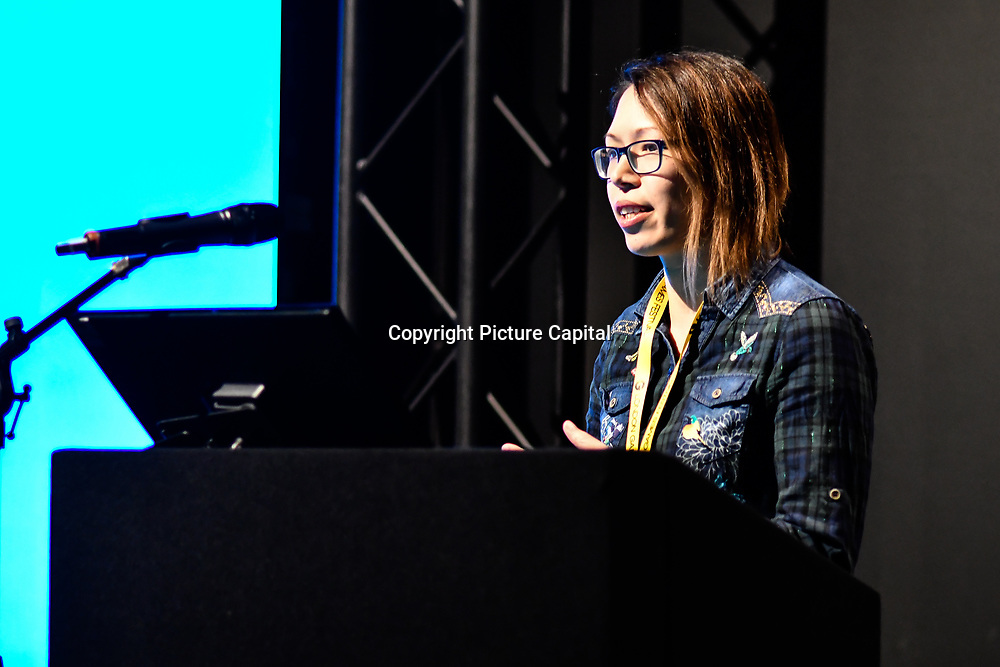 Speaker Jodie Azhar is a Teazelcat Games at ukie students at London Games Festival 2019: HUB at Somerset House at Strand, London, UK. on 2nd April 2019.