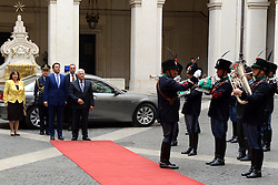 15.05.2015, Rom, ITA, der Palaestinensische Praesident Mahmoud Abbas auf Italien Besuch, im Bild der Palästinensische Präsident Mahmoud Abbas bei seinem Staatsbesuch in Italien // Palestinian President Mahmoud Abbas meets with Italian Prime Minister Matteo Renzi, at the Chigi Palace in Rome Abbas arrived in Rome for three days of meetings with Italian government institutions and the Vatican, Italy on 2015/05/15. EXPA Pictures © 2015, PhotoCredit: EXPA/ APAimages/ Thaer Ganaim<br /> <br /> *****ATTENTION - for AUT, GER, SUI, ITA, POL, CRO, SRB only*****