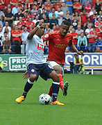 Neil Danns during the Sky Bet Championship match between Bolton Wanderers and Nottingham Forest at the Macron Stadium, Bolton, England on 22 August 2015. Photo by Mark Pollitt.