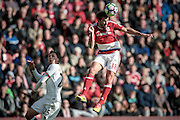 Cristhian Stuani (Middlesbrough) heads the ball during the Premier League match between Middlesbrough and Watford at the Riverside Stadium, Middlesbrough, England on 16 October 2016. Photo by Mark P Doherty.