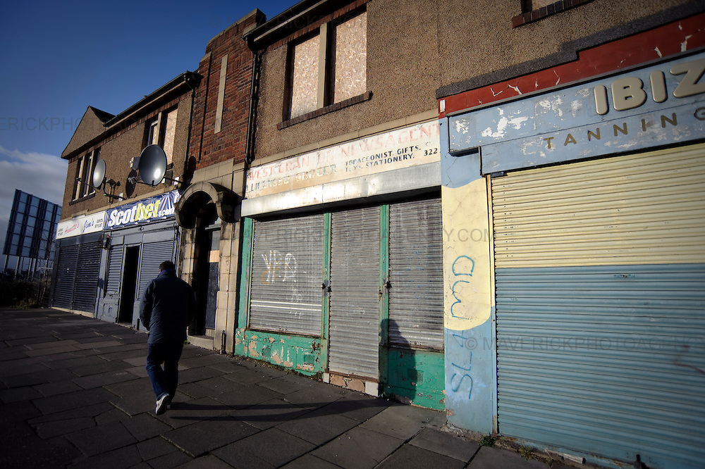 View of shop to closed shops in Edinburgh's Granton Area.  Britain's economy is about to suffer its most vicious slump since 1946, as fears over the scale of the recession mounted despite the new banking bailout.