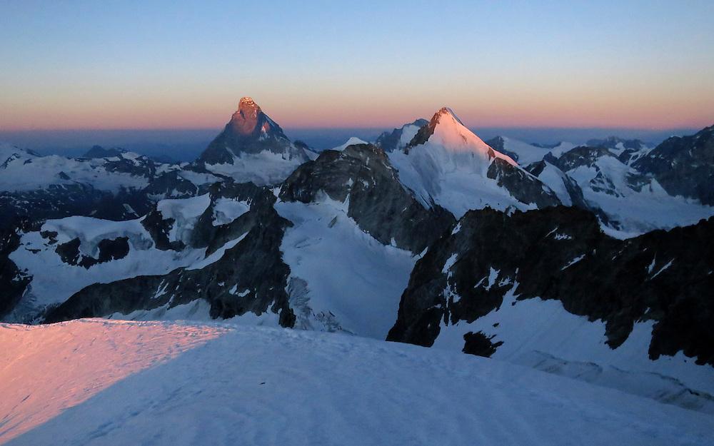 The summit of Matterhorn seen from the approach to the Kanzelgrat ridge on Zinal rothorn, 4221m, Valais, Switzerland.
