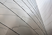 Detail he exterior of Walt Disney Concert Hall, Founders room showing polished stainless steel panels