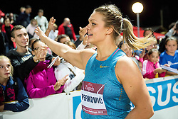 Sandra Perkovic of Croatia celebrates after winning in Discus Throw Women during IAAF World Challenge Zagreb - The 65th Hanzekovic Memorial Meeting, on September 8, 2015, in Stadium Mladost, Zagreb, Croatia. Photo by Vid Ponikvar / Sportida