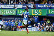 Portsmouth Midfielder, Jamal Lowe (10) scores a goal to make it 4-1 turns to celebrate during the EFL Sky Bet League 1 match between Portsmouth and Oxford United at Fratton Park, Portsmouth, England on 18 August 2018.