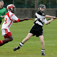 Eire Ogs Nicholas Tomasi tries to hook Clarecastles Patrick Dolan during the Mother Hubbards U13 Div 1 Final at Clarecastle.Pic Arthur Ellis/Press22.