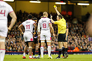 Stade Francais wing Josaia Raisuqe receives a yellow card from referee Matthew Carley during the European Challenge Cup match between Ospreys and Stade Francais at Principality Stadium, Cardiff, Wales on 2 April 2017. Photo by Andrew Lewis.
