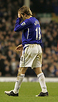 Photo: Dave Howarth.<br /> Everton v Liverpool. The Barclays Premiership. 28/12/2005. Everton's Phil Neville leaves the field in disgrace after being red carded for his tackle on Peter Crouch