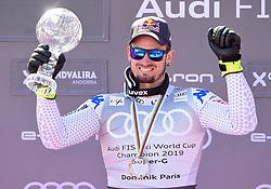 14.03.2019, Soldeu, AND, FIS Weltcup Ski Alpin, SuperG, Herren, Siegerehrung, Weltcupwertung, im Bild Dominic Paris (ITA, erster Platz Super G Weltcup, zweiter Platz Abfahrts Weltcup) // first place Super G World Cup and second place Downhill World Cup Dominic Paris of Italy during the winner ceremony for the men's Super-G Worldcup rating of FIS Ski Alpine World Cup finals. Soldeu, Andorra on 2019/03/14. EXPA Pictures © 2019, PhotoCredit: EXPA/ Erich Spiess