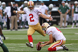 Sept 30, 2012; East Rutherford, NJ, USA; San Francisco 49ers kicker David Akers (2) kicks an extra point during the first half at MetLIfe Stadium.