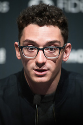 © Licensed to London News Pictures. 08/11/2018. London, UK. US Challenger Fabiano Caruana attends a press conference ahead of his 12 match game against reigning Chess Champion Magnus Carlsen to determine the FIDE World Chess Champion<br /> Photo credit: Ray Tang/LNP