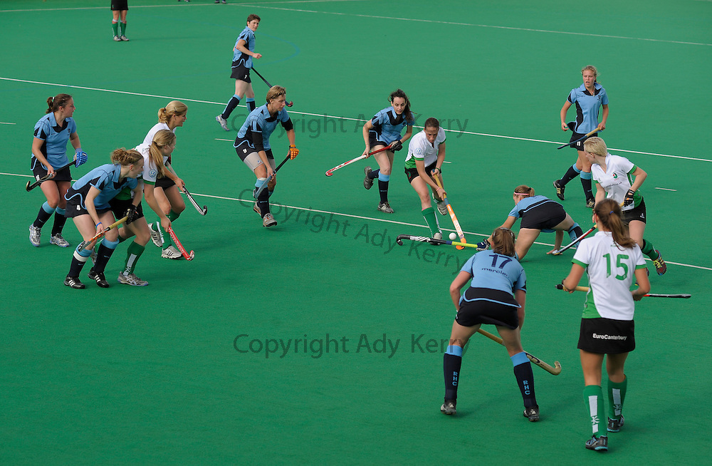 It's got a little busy in the Reading goal as canterbury's Susie Townsend runs into the circle during their Premier League game at Polo Farm, Canterbury, Kent, 23rd October 2010..
