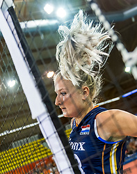 11-08-2018 NED: Rabobank Super Series Netherlands - Turkey, Eindhoven<br /> Netherlands in the final against Russia. The Dutch win the semi final in straight sets 3-0 / Marrit Jasper #18 of Netherlands