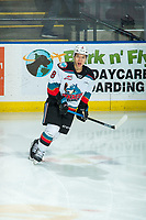 KELOWNA, BC - FEBRUARY 12: Trevor Wong #8 of the Kelowna Rockets warms up on the ice against the Tri-City Americans at Prospera Place on February 8, 2020 in Kelowna, Canada. (Photo by Marissa Baecker/Shoot the Breeze)