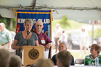 State Representative Michele Fay speaks to the crowd during the 70th Anniversary celebration of the Kiwanis Pool in St. Johnsbury Vermont.  Karen Bobotas / for Kiwanis International