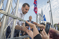 June 15, 2018 - Turin, Torino, Italy - Matteo Salvini, the Deputy Prime Minister of Italy and Minister of the Interior in Orbassano near Turin, Italy, on 15 June 2018 to support the candidature of Giovanni Falsone, the candidate of Lega Nord (Northern League) (Credit Image: © Mauro Ujetto/NurPhoto via ZUMA Press)