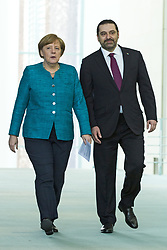 April 4, 2017 - Berlin, Germany - Bundeskanzlerin Angela Merkel begruesst am 4. April 2017 den Premierminister der libanesischen Republik, Saad Hariri, im Bundeskanzleramt. Vor dem Gespraech geben beide ein Pressestatement. Hariri führt aus, die Aufnahme der syrischen Fluechtlinge belaste die Wirtschaft und das soziale Gefuege seines Landes. Die Ausmasse seien in etwa so, als wuerde man von der Europaeischen Union erwarten, ab morgen 250 Millionen Fluechtlinge aufzunehmen. | On April 4, 2017, German Chancellor Angela Merkel welcomes the Prime Minister of the Lebanese Republic, Saad Hariri, to the Federal Chancellery. Before the conversation, both give a press conference. Prime Minister Hariri says that the admission of the Syrian refugees burdened the economy and the social fabric of his country. The proportions were roughly the same as expected from the European Union to absorb 250 million refugees as of tomorrow..Credit: A.v.Stocki/face to face (Credit Image: © face to face via ZUMA Press)