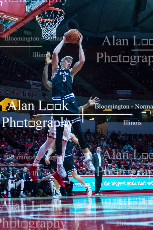 NORMAL, IL - October 23: Alex McQuinn goes up for a rebound during a college basketball game between the ISU Redbirds and the Truman State Bulldogs on October 23 2019 at Redbird Arena in Normal, IL. (Photo by Alan Look)
