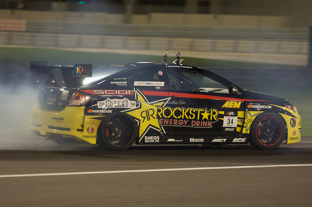25 feb, formula drift champion ship, yas marina circuit, abu dhabi, tanner foust driving his rockstar energy drink scion tc