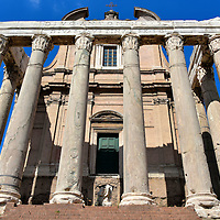 Temple of Antoninus and Faustina at Roman Forum in Rome, Italy<br />