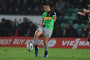 Harlequins fly half Marcus Smith (10) kicks during the Gallagher Premiership Rugby match between Northampton Saints and Harlequins at Franklins Gardens, Northampton, United Kingdom on 1 November 2019.