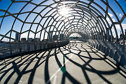 Modern architecture of steel Webb footbridge in Docklands district of Melbourne Australia