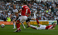 Photo: Steve Bond/Richard Lane Photography. Derby County v Sheffield United. Coca-Cola Championship. 13/09/2008. Paul Green (C, part obscured) dives to head Derby in front