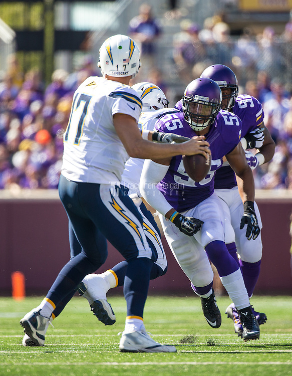 Sep 27, 2015; Minneapolis, MN, USA; Minnesota Vikings linebacker Anthony Barr (55) hits San Diego Chargers quarterback Philip Rivers (17) during the third quarter at TCF Bank Stadium. The Vikings defeated the Chargers 31-14. Mandatory Credit: Brace Hemmelgarn-USA TODAY Sports