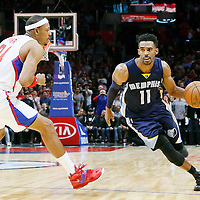 09 November 2015: Memphis Grizzlies guard Mike Conley (11) drives past Los Angeles Clippers forward Paul Pierce (34) during the Los Angeles Clippers 94-92 victory over the Memphis Grizzlies, at the Staples Center, in Los Angeles, California, USA.