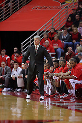 "31 January 2009: Braves Coach Jim Les gets a bit animated when things don't proceed quite like he envisioned. The Illinois State University Redbirds join the Bradley Braves in a tie for 2nd place in ""The Valley"" with a 69-65 win on Doug Collins Court inside Redbird Arena on the campus of Illinois State University in Normal Illinois"